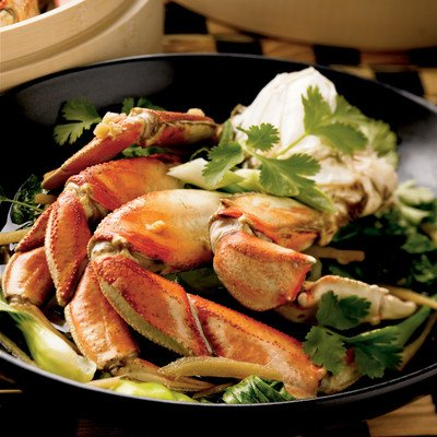 Asian-Style Steamed Alaska Crab with Bok Choy